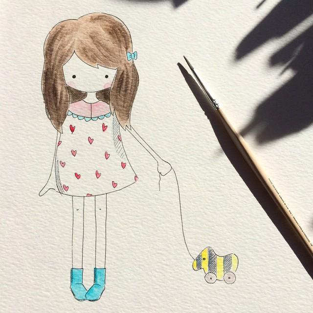 Illustration Aquarell Characterdesign Mädchen