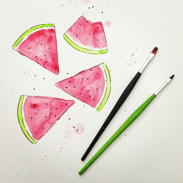 Illustration Aquarell Melonen