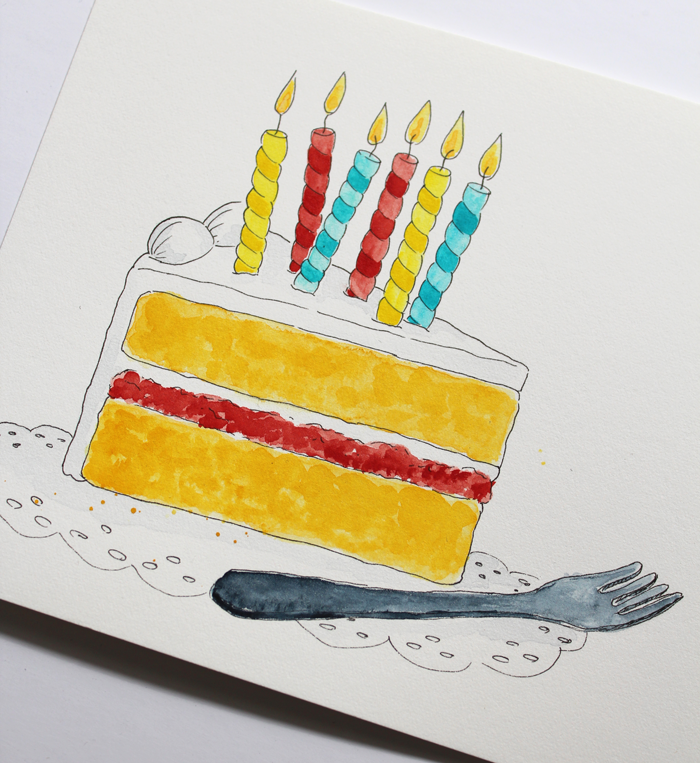 Illustration Aquarell Torte