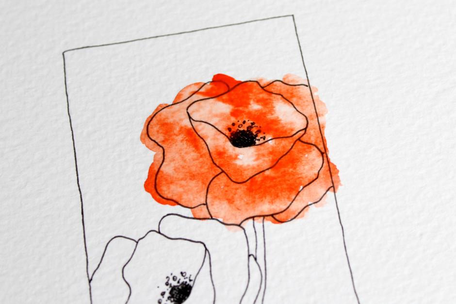 Tutorial für eine Postkarte und ein Lesezeichen mit Aquarellfarben