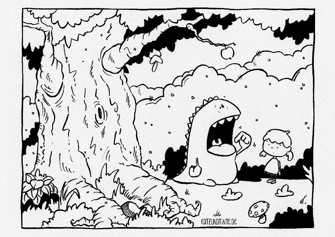 Ausmalbild - Katz & Tinte | Inktober mit Monster